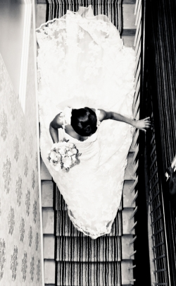 Bride on stairs in dress