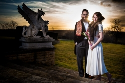Portrait of vintage wedding couple at woodhouse eves in leicester